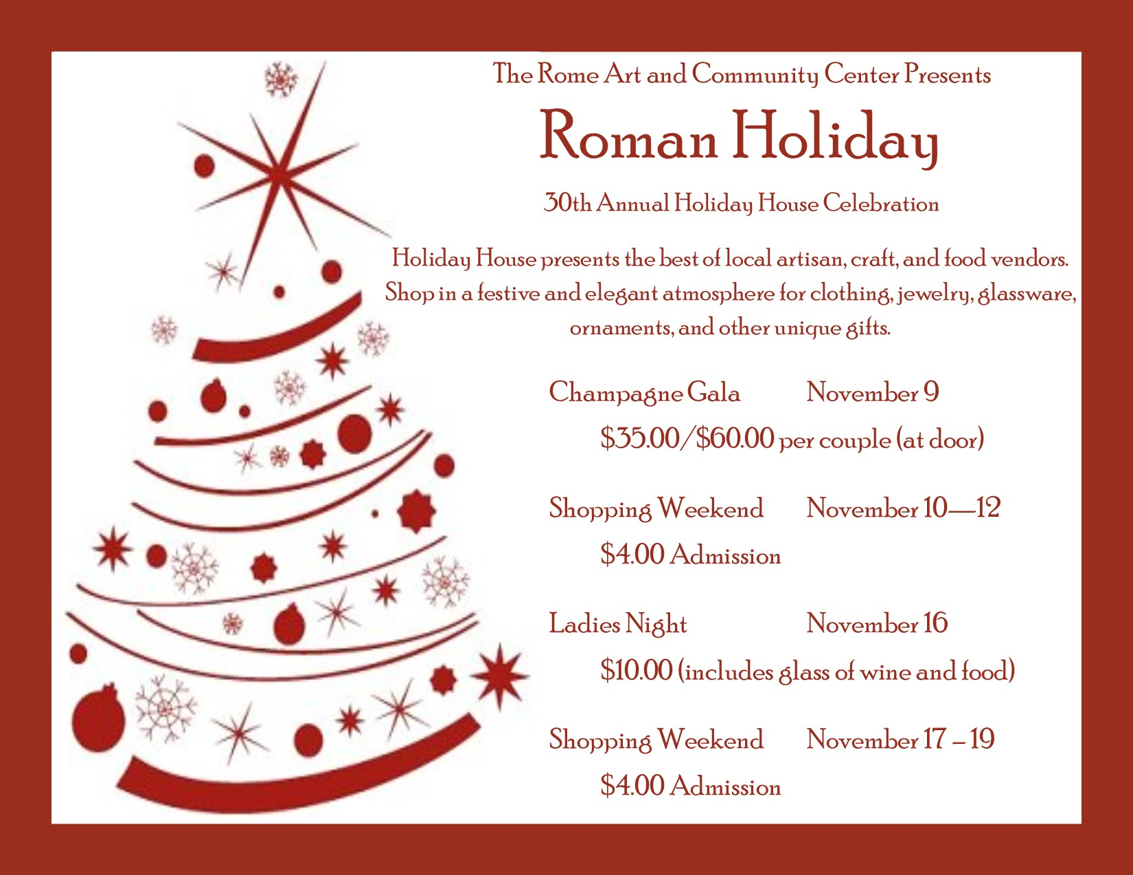 Roman Christmas Ornaments.Rome Art And Community Center Holiday House Champagne Gala
